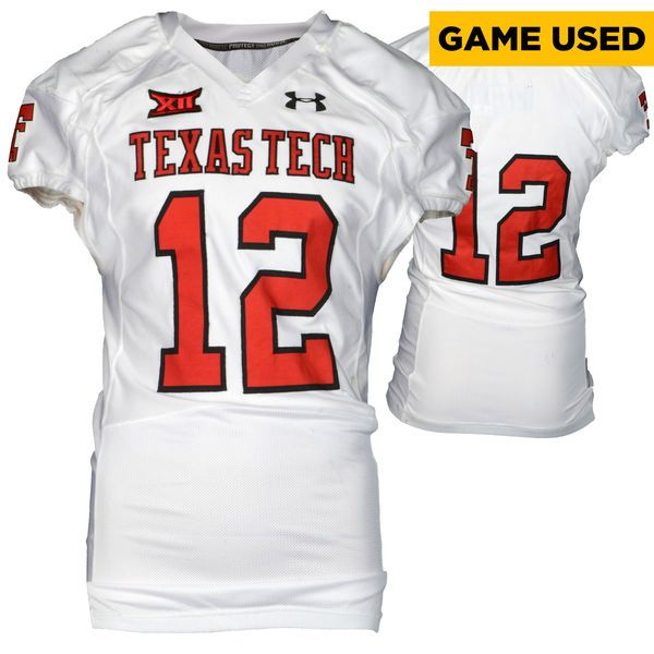 Texas Tech Red Raiders Fanatics Authentic Game-Used White #12 Jersey used during victories against the Arkansas Razorbacks and Texas Longhorns during the 2015 Season - Size 44 - $199.99