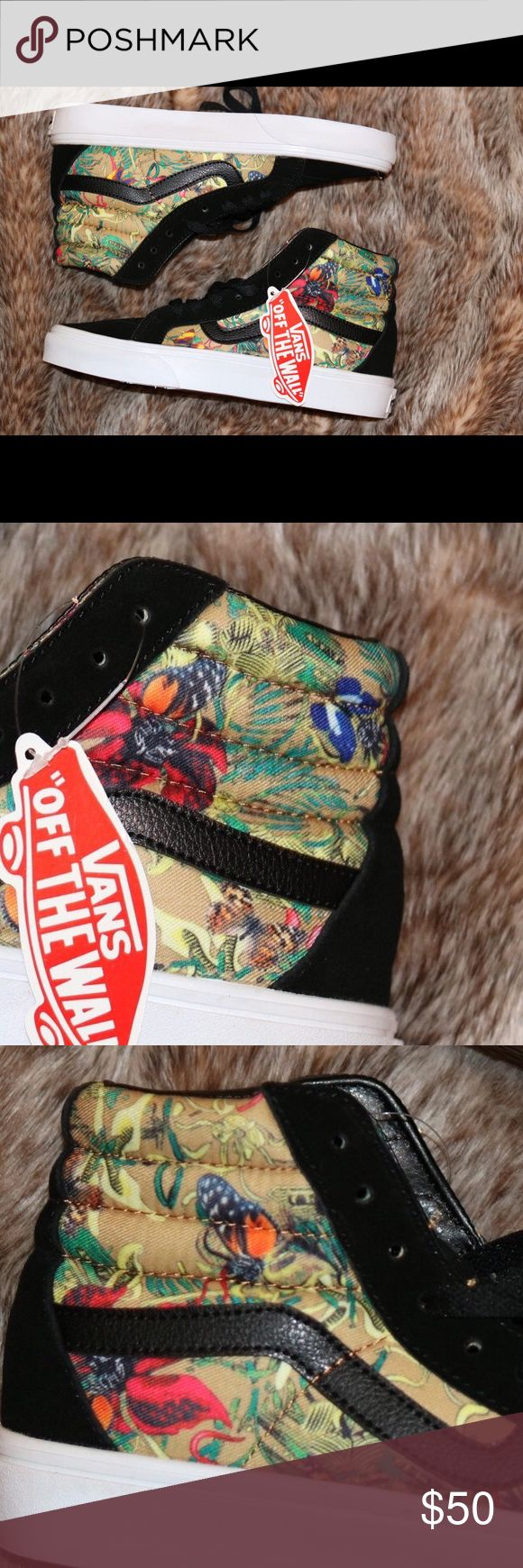 vans butterfly/jungle/floral sk8 his skate highs super unique and brand new. paid $70 for them. make me an offer! Vans Shoes Sneakers