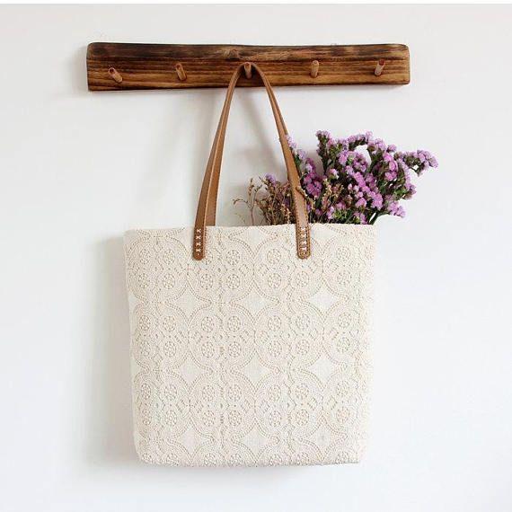 Algodón Chic Shabby a mano boda, bolso de encaje, bolso de encaje, estilo Vintage, marfil/de blanco, hacer orden, B0094