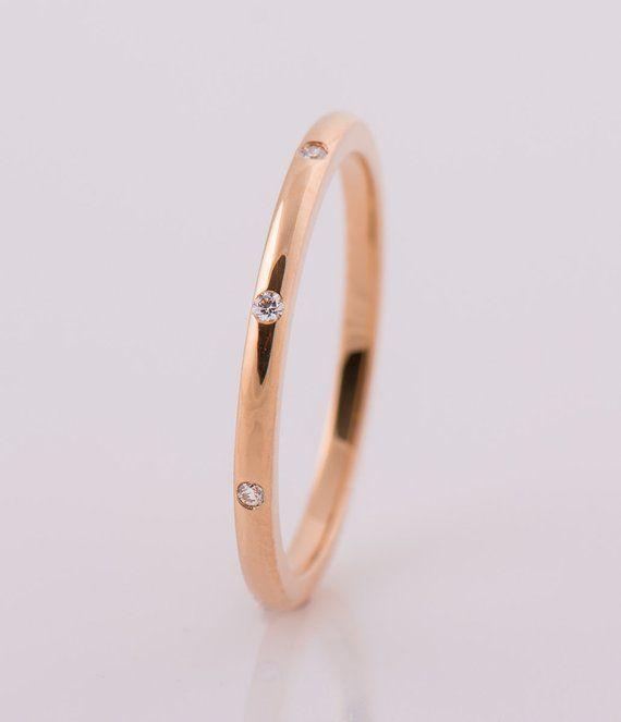1 5 Mm Eternity Diamonds Ring 14k 18k Rose Gold 8 Diamonds Etsy In 2020 Delicate Diamond Ring Rose Gold Wedding Band Diamond Minimalist Diamond Rings