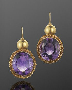 Victorian Amethyst And Yellow Gold Pendant Earrings  c. 18th-19th Century