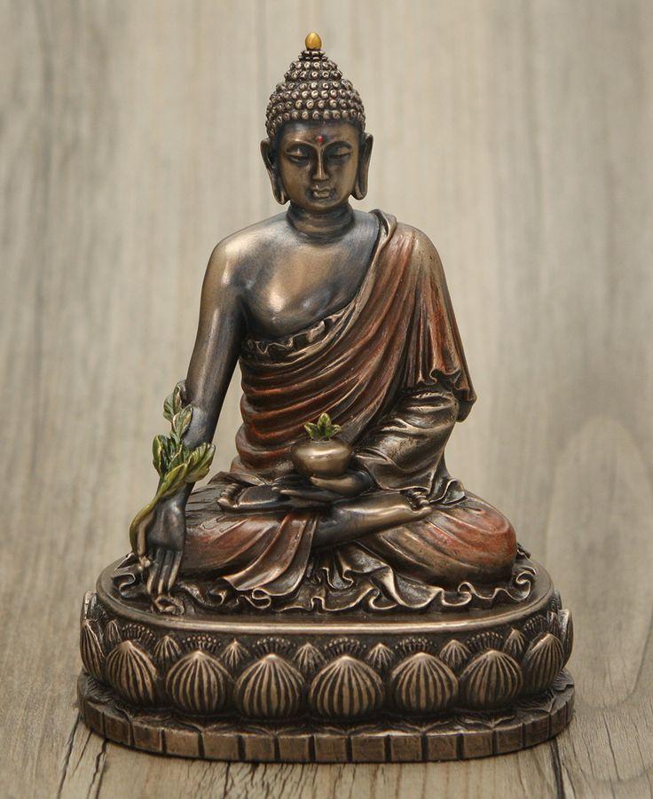 Cold Cast Bronze Medicine Buddha Statue, 6 Inches