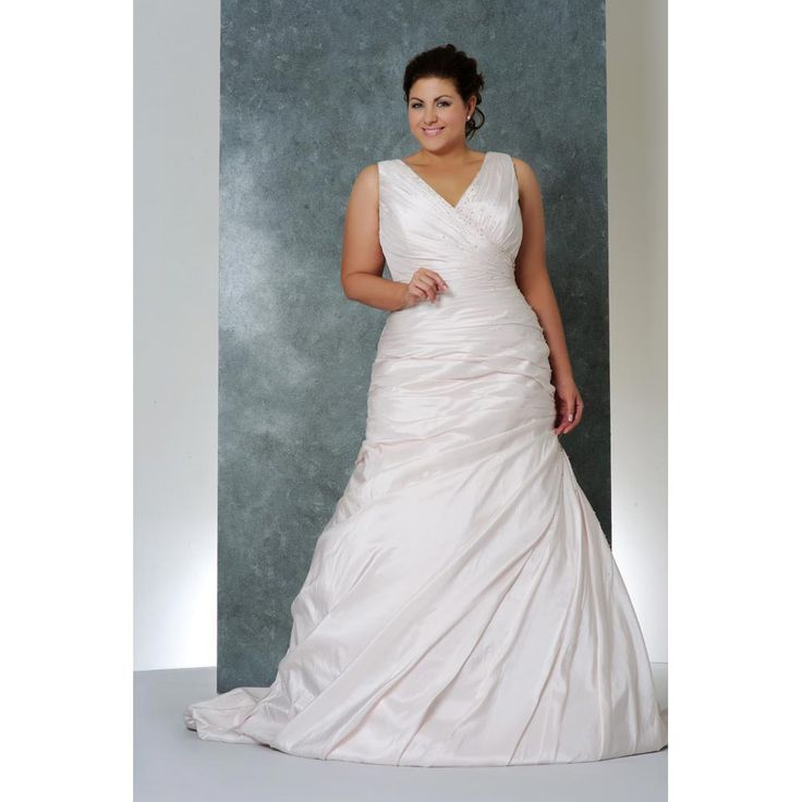 Sleeveless plus size wedding dresses like this are for Around the neck wedding dresses