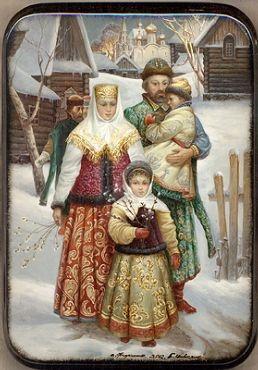 Fedoskino Russian Folk Art Lacquer Box 4.25 x 1.25 $625