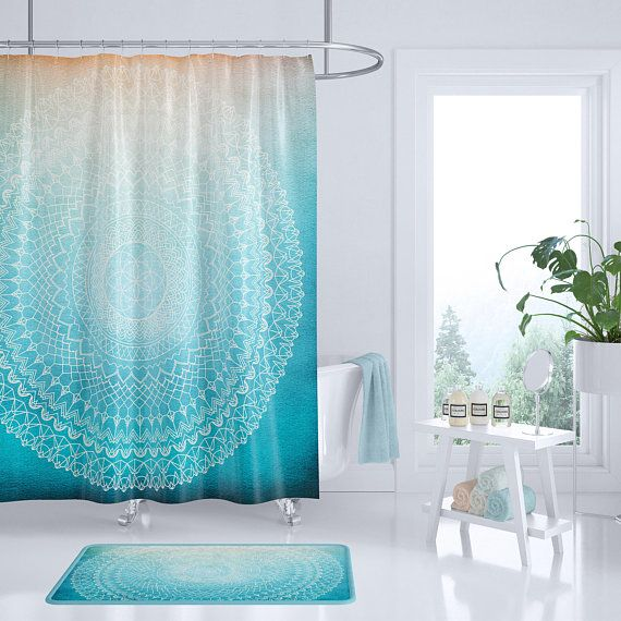 Teal Mandala Shower Curtain Teal Coral Peach Geometric Etsy Mandala Shower Curtain Bathroom Shower Curtains Trendy Bathroom