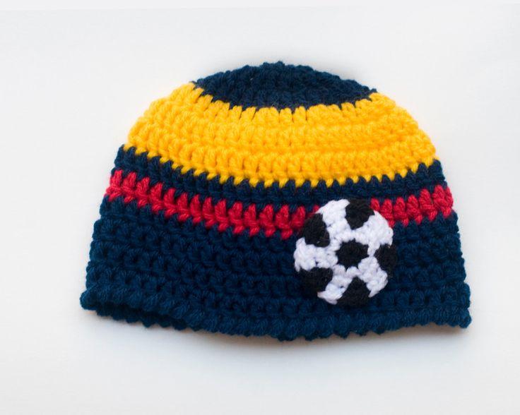 Baby Boy Soccer HAT Football Crochet Navy Blue Gold Red Columbia Flag Colors, Newborn Soccer Hat Columbian Soccer Baby, Soccer Baby Knit Hat by Grandmabilt on Etsy