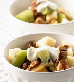 Fruitsalade met crème fraîche