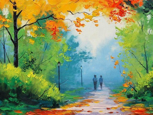 Двое на прогулке,  картина Грэма Геркена