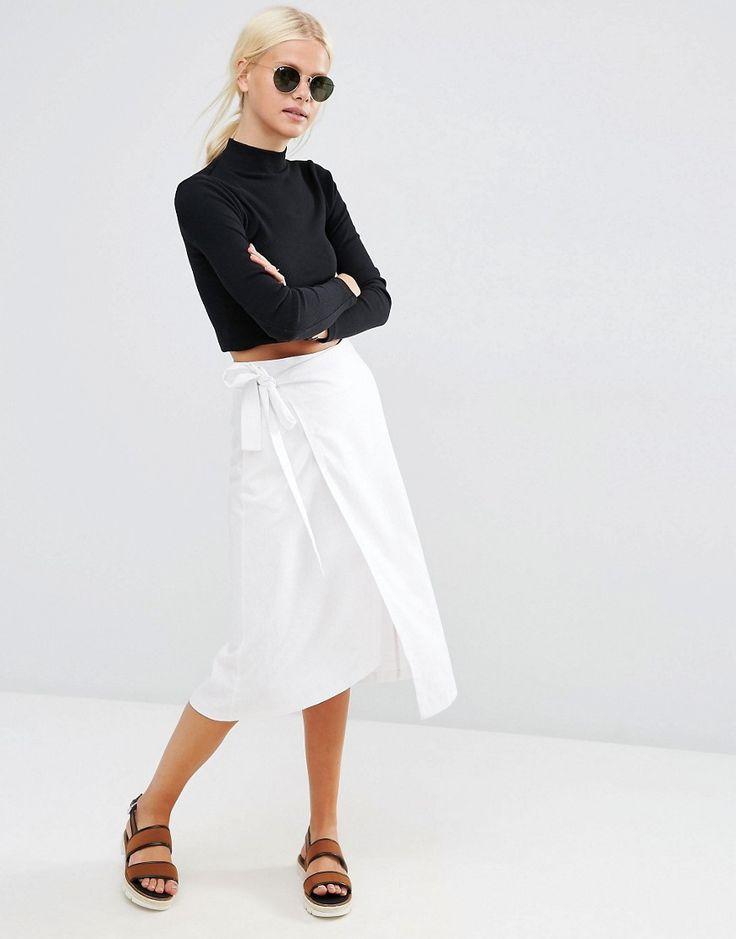 Image 1 ofASOS Midi Linen Wrap Skirt