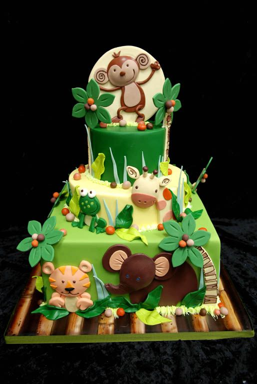 NOJO Jungle Babies - Crib Baby Bedding Themed Cake.  I have this crib bedding and this cake is AMAZING.  It looks EXACTLY like the bedding.