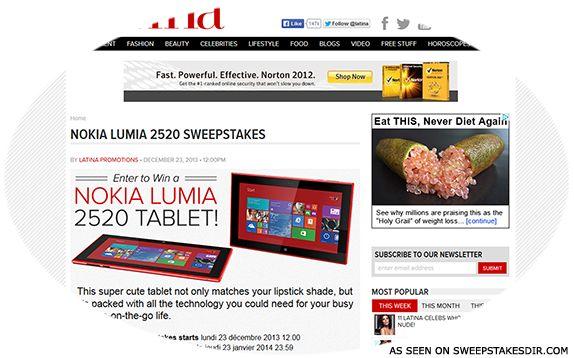 latina.com/nokia – Latina's Nokia Lumia 2520 Sweepstakes