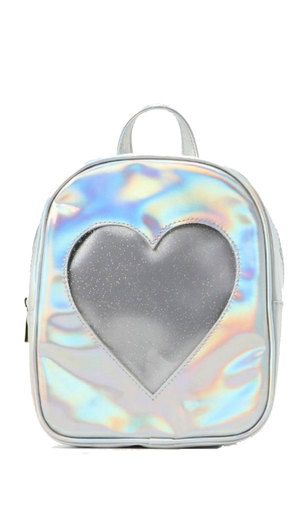 Cute ita bag silver holographic transparent heart backpack in 2019 ... 644537a72805
