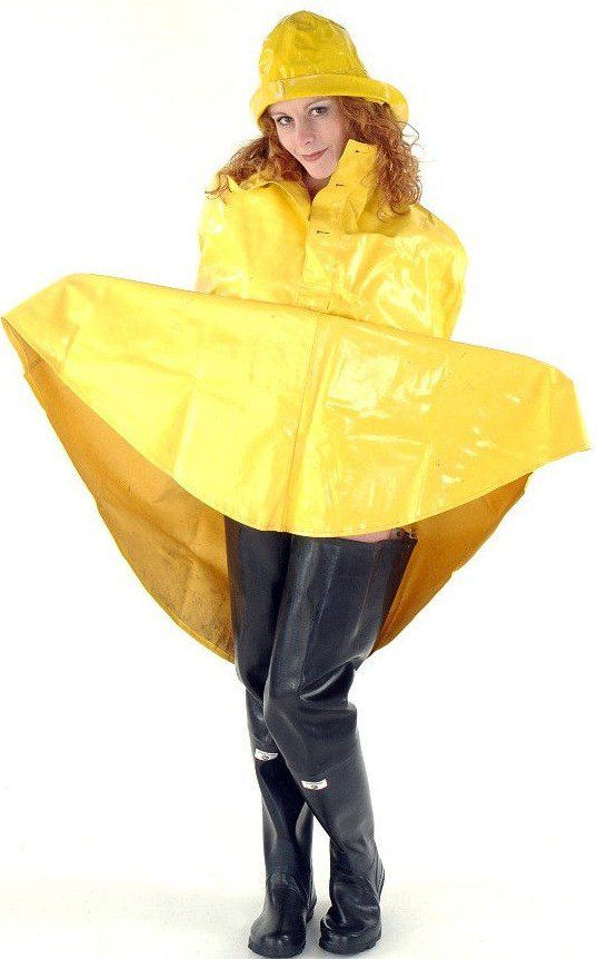 Yellow PVC Cape & Hat with Black Rubber Waders