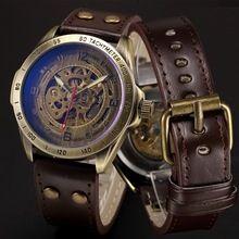Zegarek mechaniczny mężczyźni skeleton automatic zegarek steampunk zegarki antique bronze retro skórzane dropshipping 2017 gorąca sprzedaż(China (Mainland))