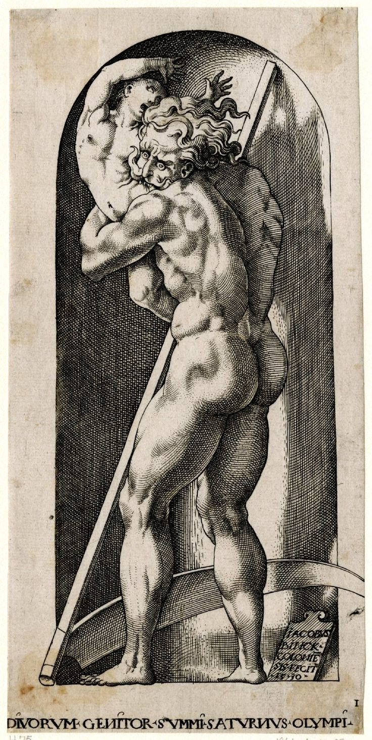 scribe4haxan:  Saturn Devouring His Children (1530) ~ From a series of twenty engravings of whole-length figures standing in niches after Caraglio's engravings, after Rosso Fiorentino. British Museum.