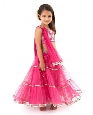Cherry Pink Flared Net Lengha Set - Ridiculously cute for my daughter one day!