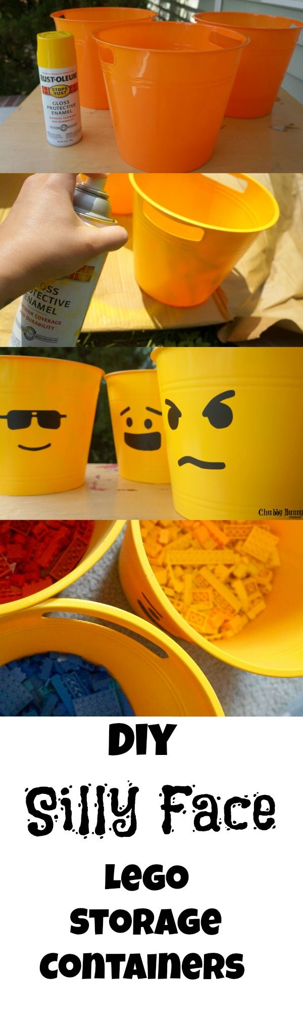 DIY Silly Face Lego Storage Containers from the Dollar Store