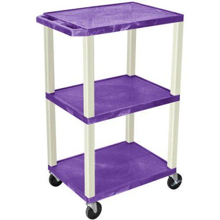 H. Wilson Tuffy 3-Shelf A/V Cart with Electric, Purple Shelves and Putty Legs