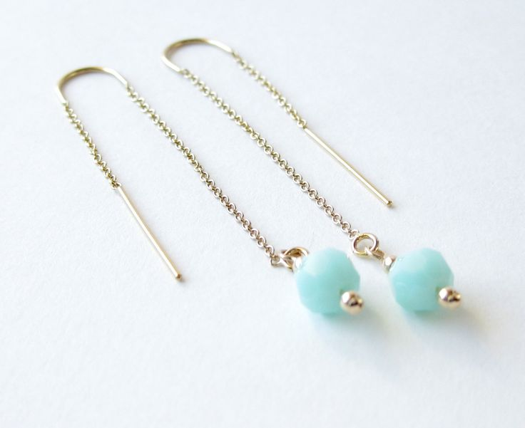 A personal favorite from my Etsy shop https://www.etsy.com/listing/227196090/gold-threader-earrings-with-mint-green