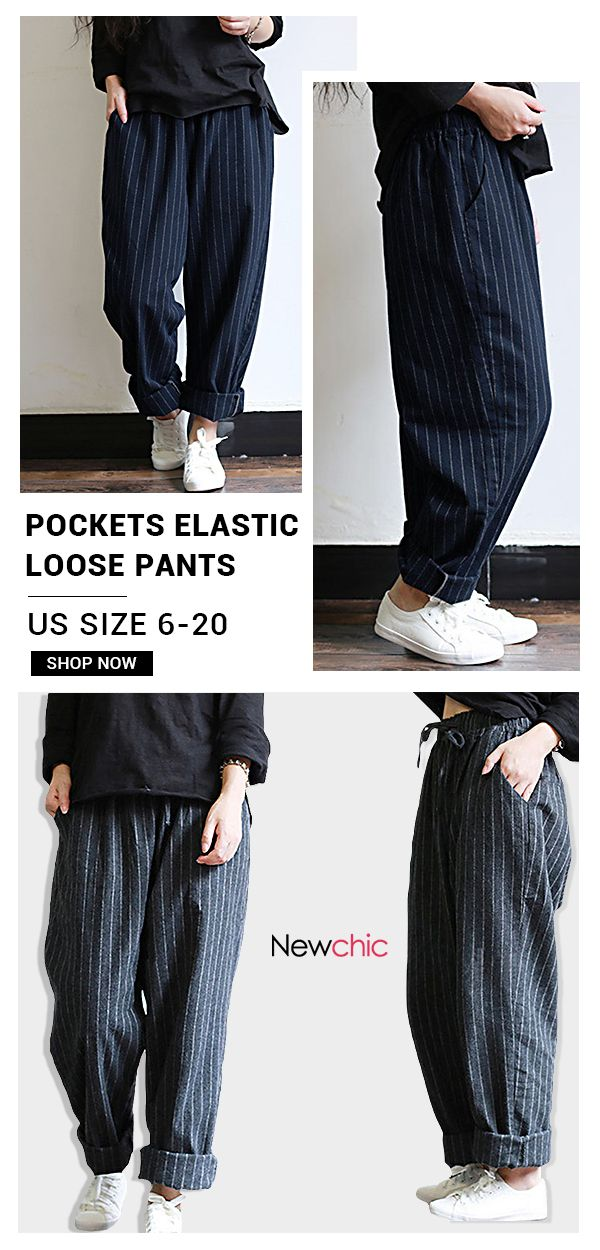 76b2895dd38 Vintage Stripes Pockets Elastic Waist Loose Pants