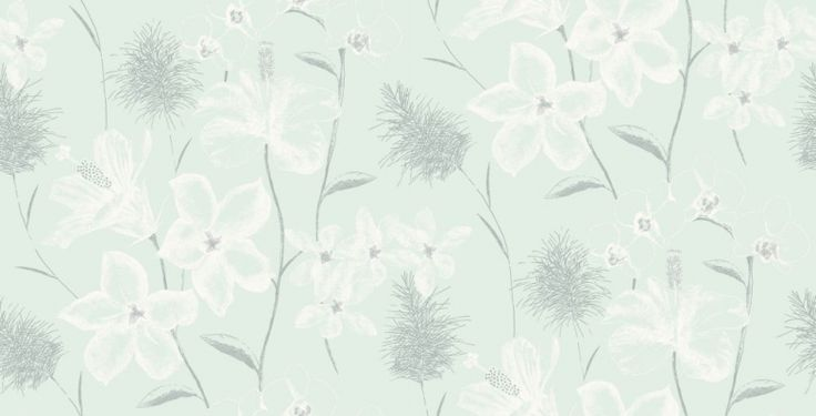 Emily (267913) - Albany Wallpapers - A stunning floral design in a hand sketched effect with intricate detailing. Showing in metallic white and grey on a mint green background - other colour ways available. Exclusive to Albany. Please request a sample for true colour match.