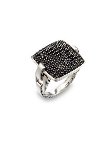 John Hardy - Classic Chain Black Sapphire & Sterling Silver Cushion Ring