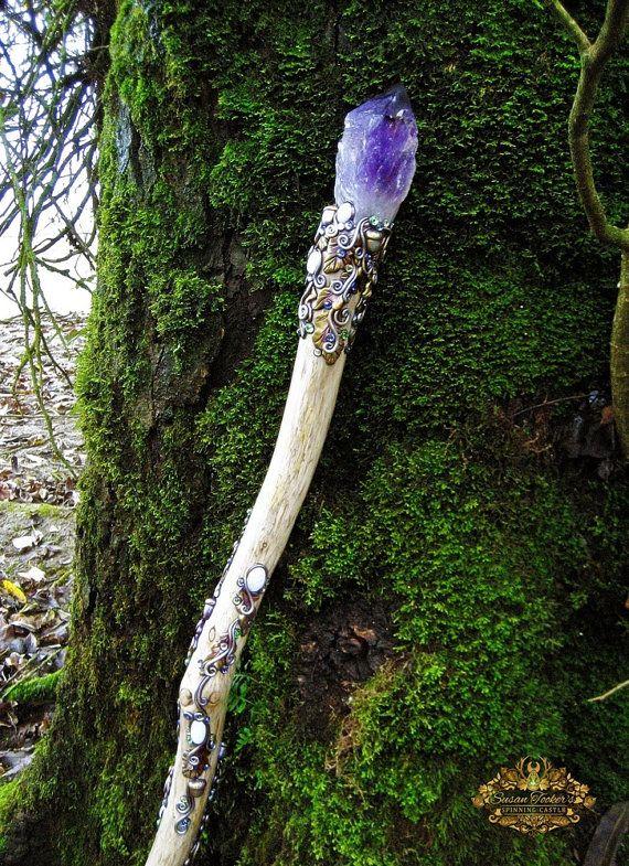 °Amaranthine Dreams ~ Amethyst Quartz Magic Crystal Staff Moonstone by SpinningCastle