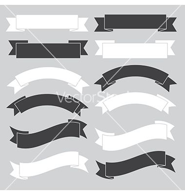 Old ribbon banner black and white eps10 vector ribbons labels decals logos