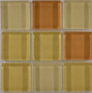 Product ID:OPUS15 Miki 1X1 Glass Blend Golden Ears Mosaic #Profiletile