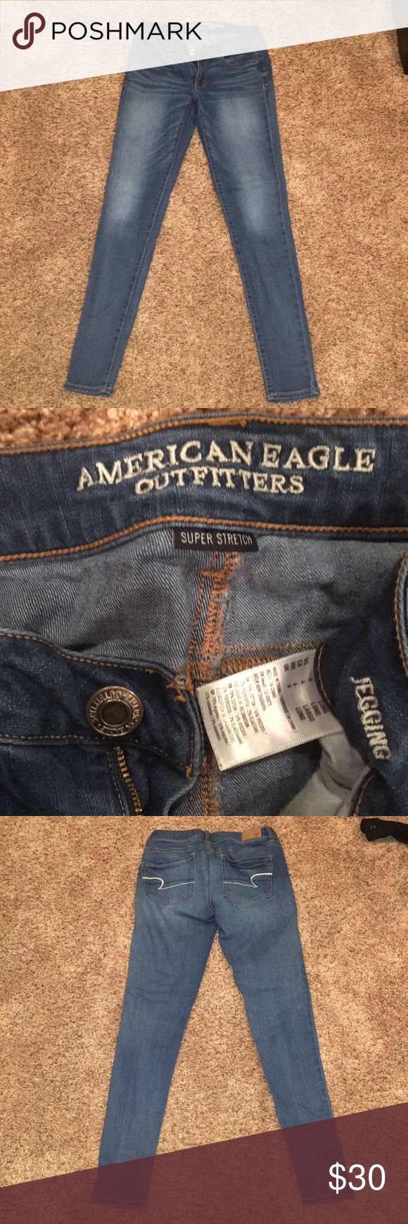 American Eagle super stretch jeans American Eagle jeans. Worn a few times but in good condition. Size 4 Long. Medium wash. Willing to negotiate price American Eagle Outfitters Jeans Skinny