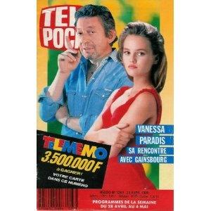 Vanessa Paradis : sa rencontre avec Serge Gainsbourg, dans Télé Poche (n°1263) du 23/04/1990 [couverture et article mis en vente par Presse-Mémoire]