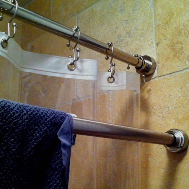 Double Shower Rods To Use One For Drying Towels, Etc