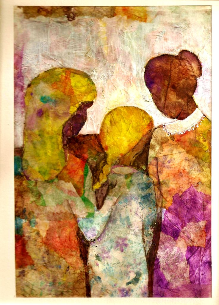 Tres mujeres- Realizado sobre tutorial de Ana Cenzato con papel de seda teñido con acuarela-