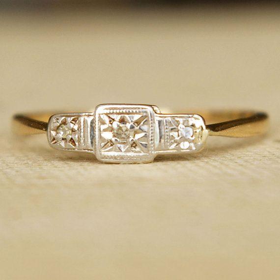Antique Art Deco Platinum & 9K Gold Diamond Ring US 9 1/4 $285