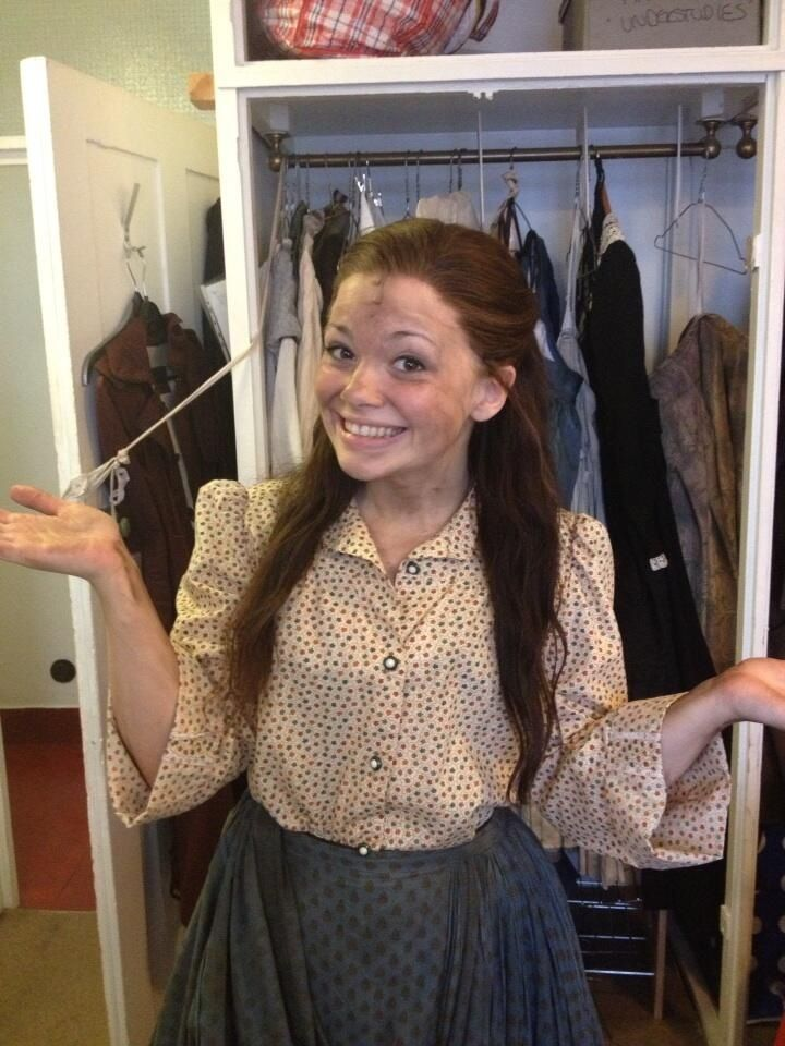 Carrie Hope Fletcher, in her ensemble wig for at the end of the day/lovely ladies and a farm girl :)