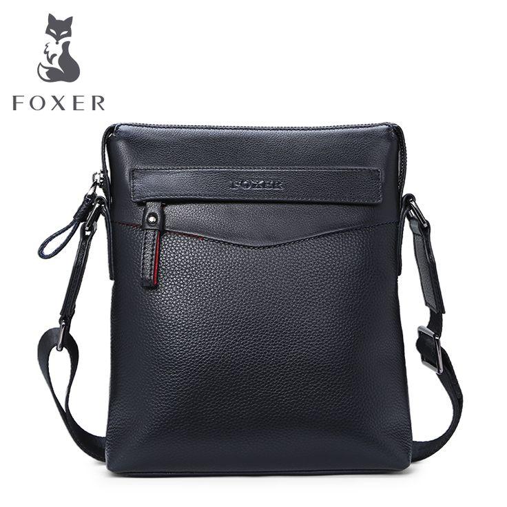 FOXER Famous Brands Genuine Leather Metrosexual man Shoulder Bag Casual Crossbody Bags For men
