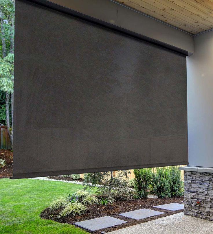 Deluxe Roll-Up Outdoor Solar Shade, 8'W x 8'L - Mahogany ...