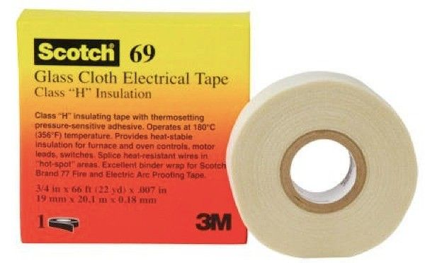 Scotch® Glass Cloth Electrical Tapes 69 - 18 mm x 66 ft - scotch glass cloth tape.  Woven insulating glass cloth; high temperature resistance; high mechanical strength. Heat-stable insulation for furnace and oven controls, motor leads and switches.     - Harga per roll  http://tigaem.com/isolasi-electrical-tape/1584-scotch-tape-27-18-mm-x-66-ftscotch-glass-cloth-electrical-tapes-69-18-mm-x-66-ft-scotch-glass-cloth-tape.html  #scotch #electricaltape #isolasi #3M