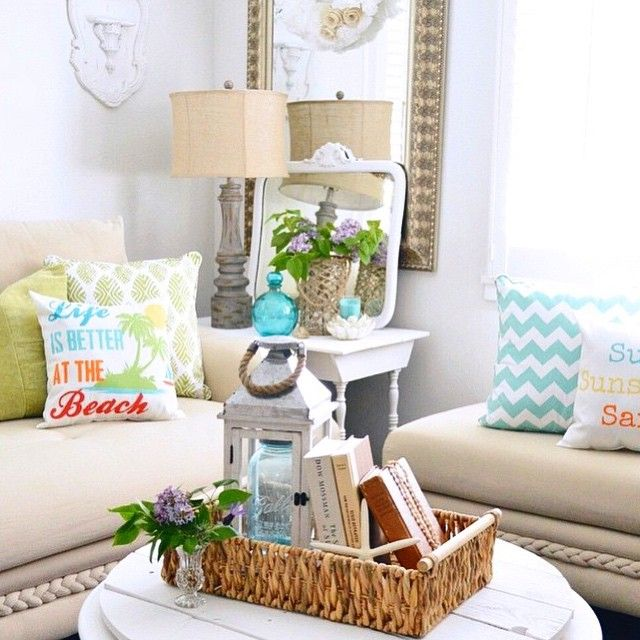 Life is better at the beach! Mix and match pillows in your favorite summer colors and accent with naturals like wicker and burlap for pretty summer decor.