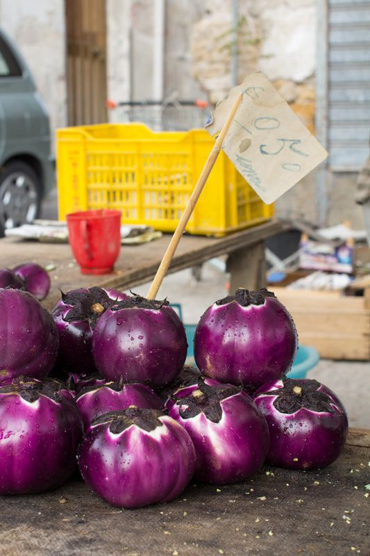 Egg Plant at a Market in Sicily