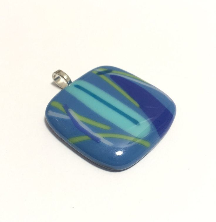 Big, Blue & Bold: Square unique fused glass pendant with stripes in blue, green, white, fused glass necklace by Spallek Glass Art by SpalleksGlassArt on Etsy https://www.etsy.com/au/listing/504639830/big-blue-bold-square-unique-fused-glass