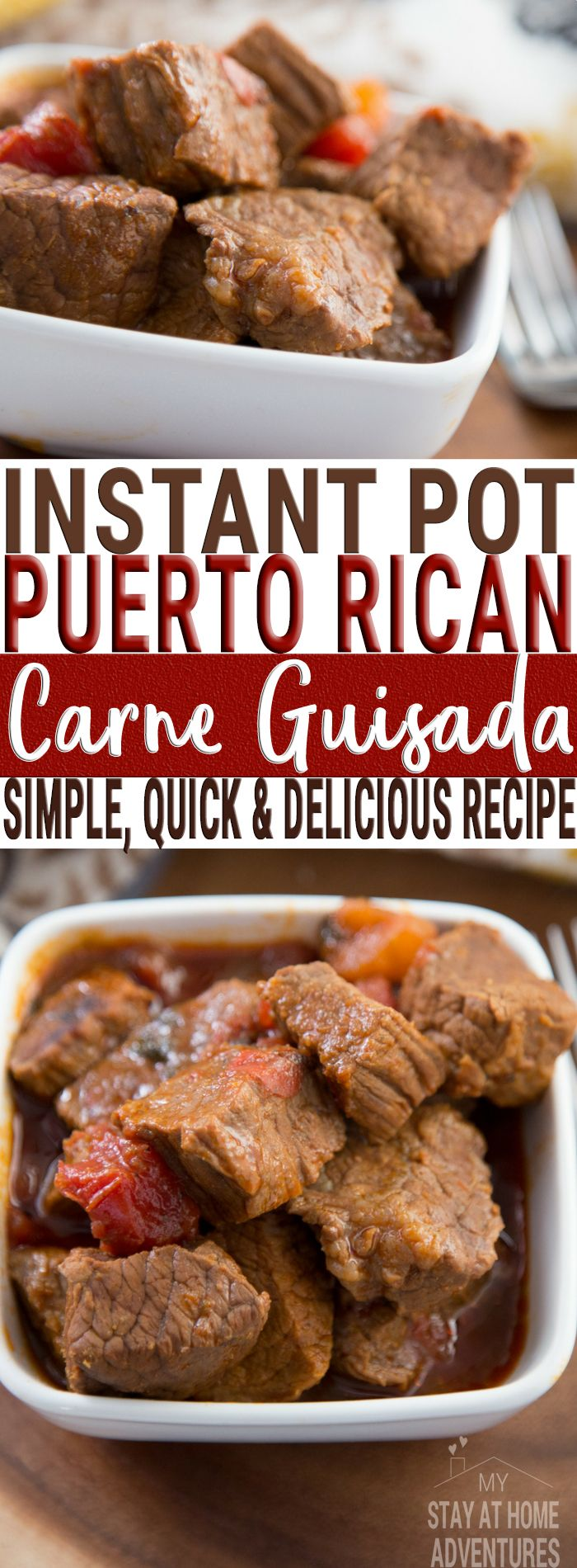 Try this simple and delicious Puerto Rican Carne Guisada or Puerot Rican Beef Stew that anyone can create! Use your Instant pot add these ingredients and you will enjoy this meal in no time!