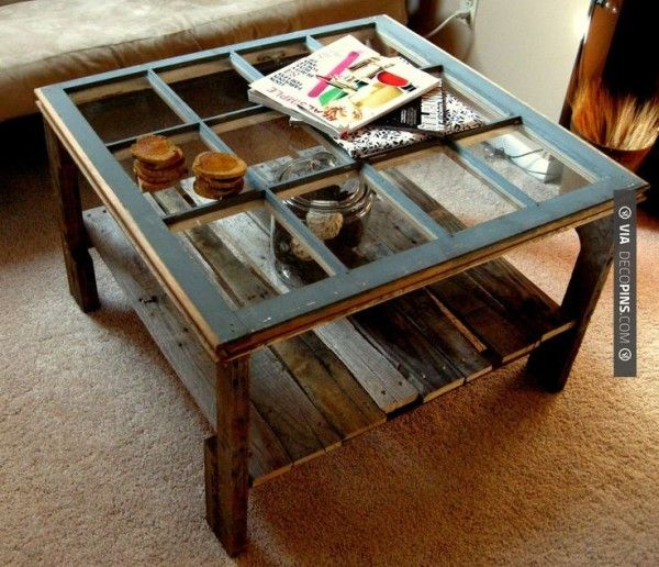 Old window  pallet coffee table…we'd probably put a thick piece of glass over the whole thing for easy cleaning and to make an even tabletop, but what a fun idea!