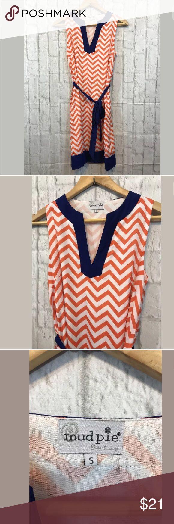 Mud Pie Dress Mud Pie Dress Orange White Blue Chevron Sleeveless Sundress Size S Mud Pie Dresses