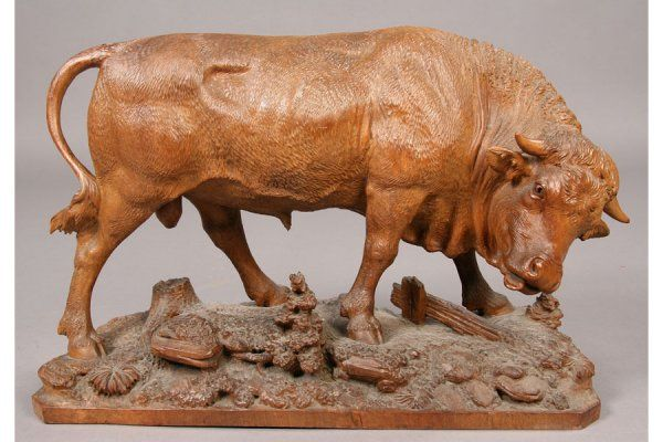 ANTIQUE BLACK FOREST CARVING of A BULL  circa 1900