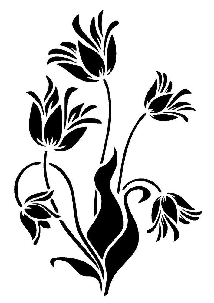Line Art Flower Stencil Designs : Best nature plants stencils lovestencil ebay etsy