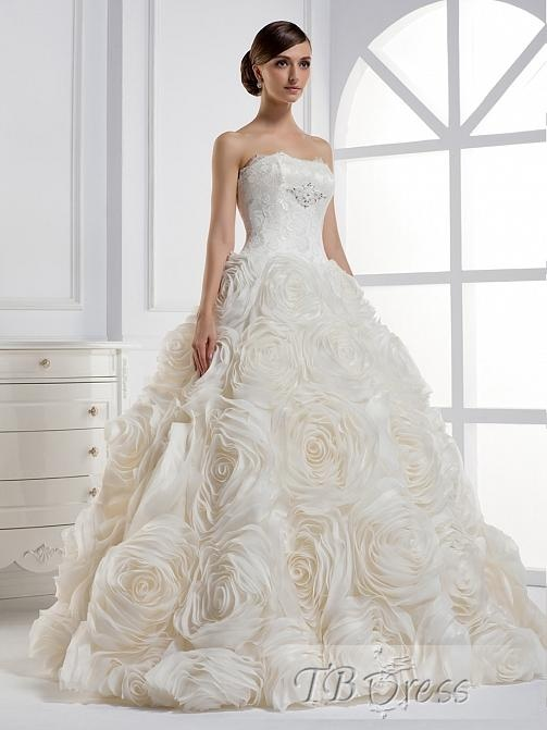 Strapless Ruffles Ball Gown Wedding Dress
