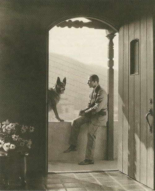 Rudolph Valentino with One of his many dogs.