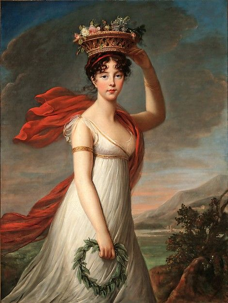 "Élisabeth Louise Vigée Le Brun (French, Paris 1755-1842). Julie Le Brun as Flora, ca. 1799. The Metropolitan Museum of Art, New York. Museum of Fine Arts, St. Petersburg, Florida, Rexford Stead Art Purchase Fund (1983.5) | This work is featured in the ""Vigée Le Brun: Woman Artist in Revolutionary France"" exhibition, on view through May 15, 2016. #VigeeLeBrun"