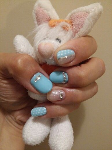 Light blue and glitter with white polka dots.